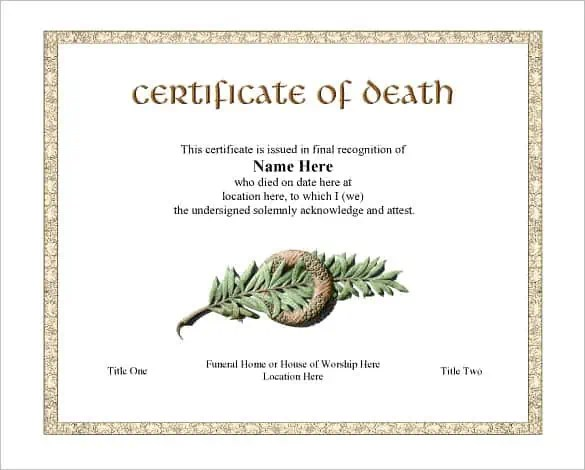7 Free Death Certificate Templates - Formats & Designs