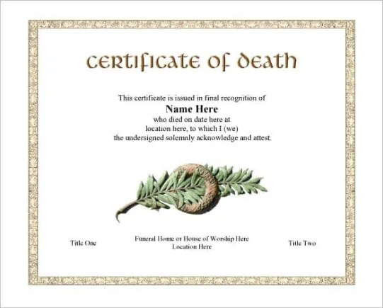 death certificaet template 41
