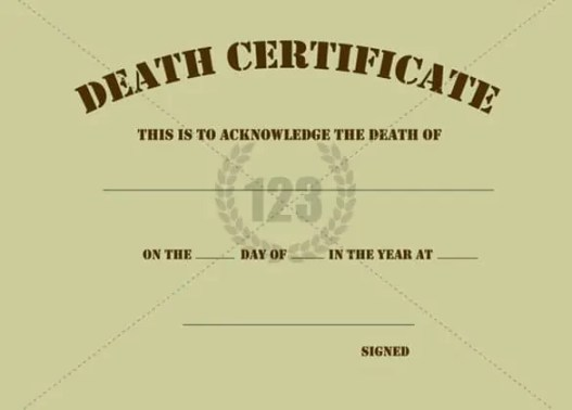 death certificaet template 564