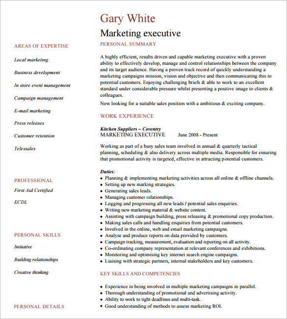 sales executive resume word format classic templates template download website