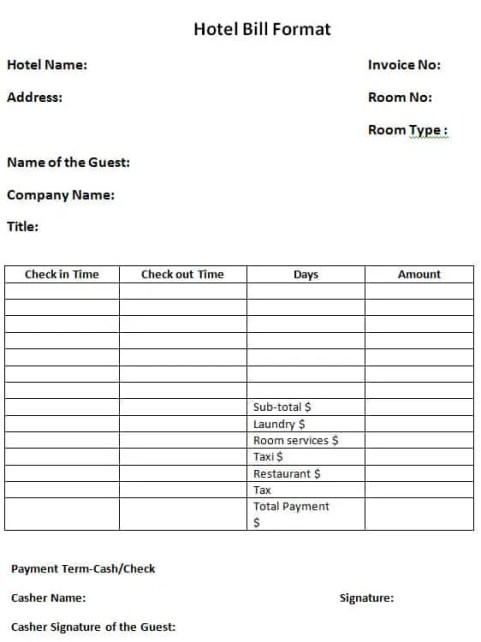hotel bill format in word 41