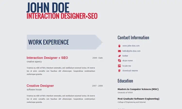 html resume template 96