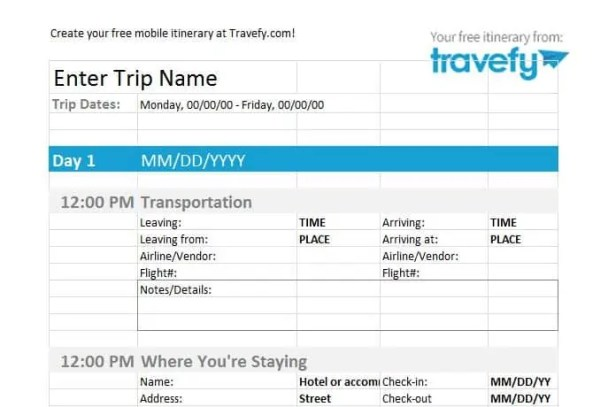 itinerary template 4