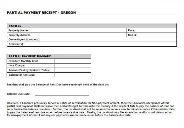 Property Payment Receipt Format  Payment Receipt Format In Word