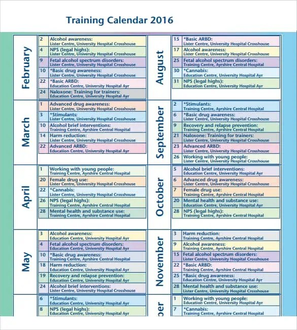 training calendar template 5641