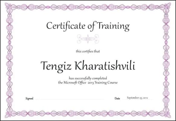 Certificate of Training Template PDF