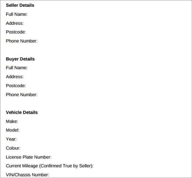 7 Vehicle Purchase Agreement Templates Auto Car