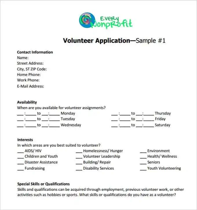 volunteer application 660