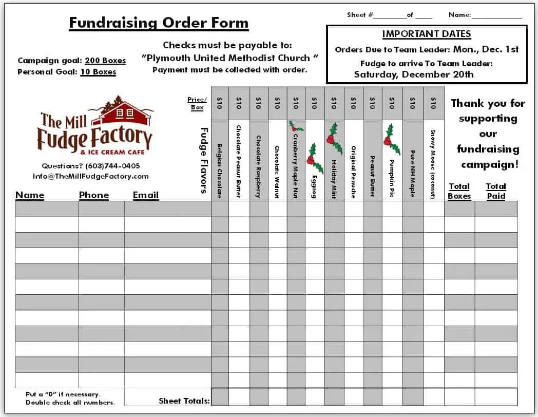 Superb Fundraiser Order Form Template