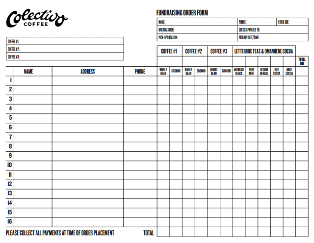 Fundraiser Order Form Template 62
