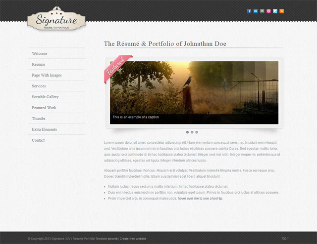 cv website template templates perfect
