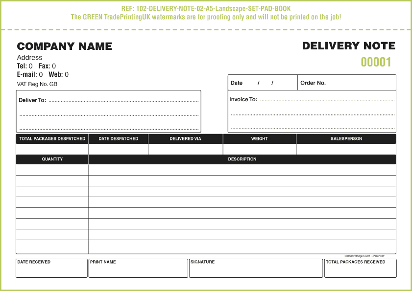 delivery order template word