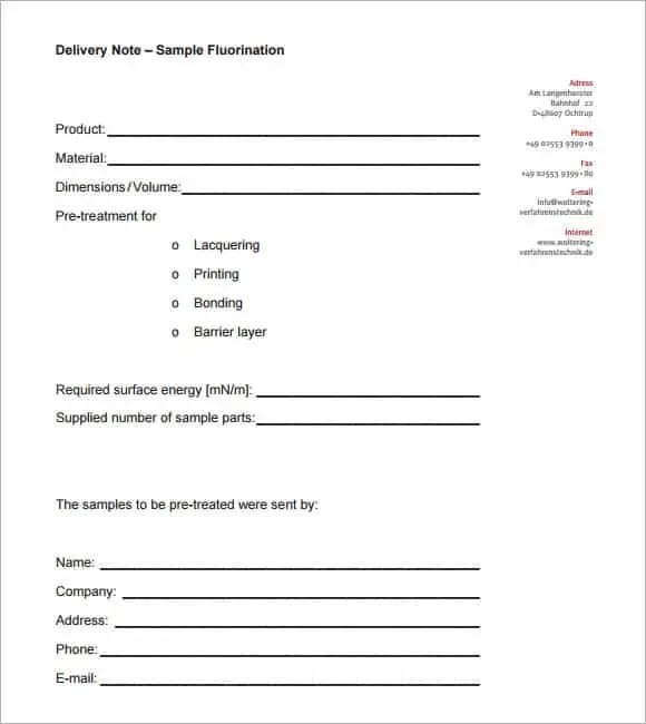 Exceptional Dedelivery Note Template 60