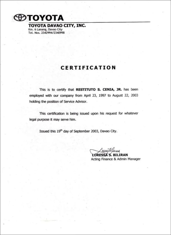 Certificate of employment samples word excel samples employment certificate sample yelopaper Gallery