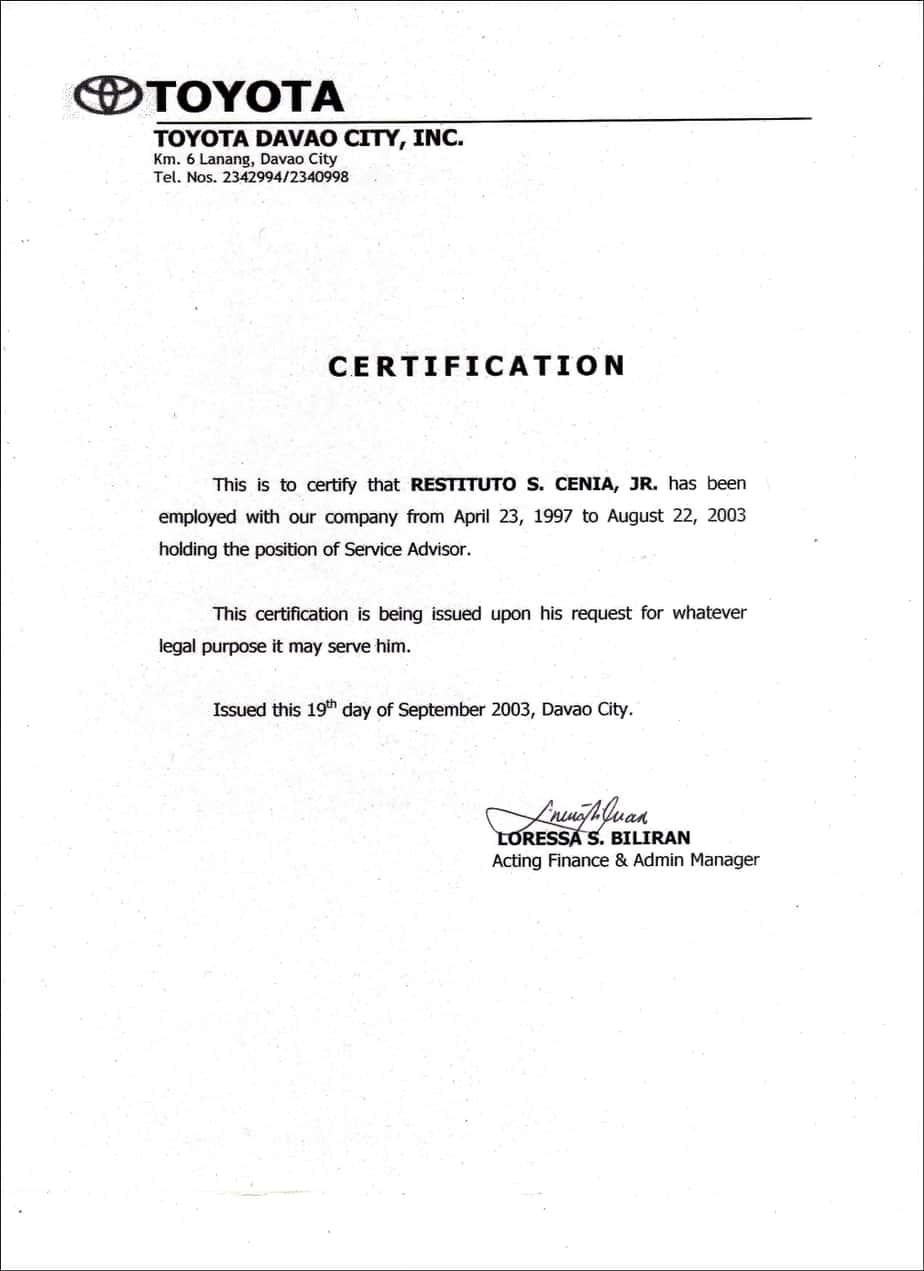 Employment Certificate Sample  Certificate Samples