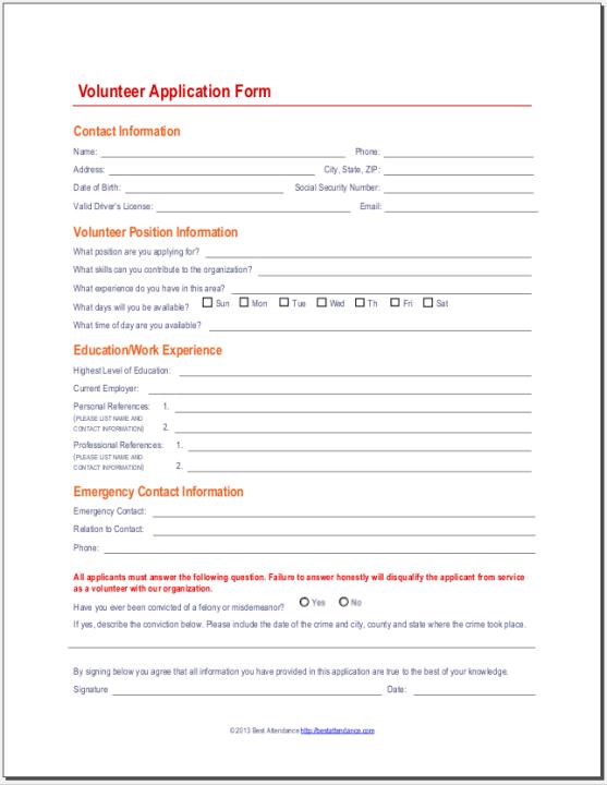 volunteering application form volunteer application template 20
