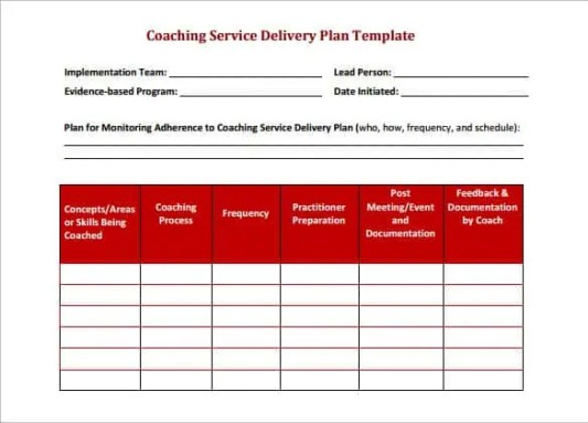 delivery schedule templates