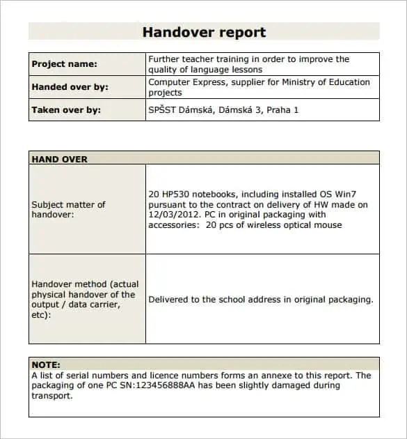 Handover Report Templates - Word Excel Samples