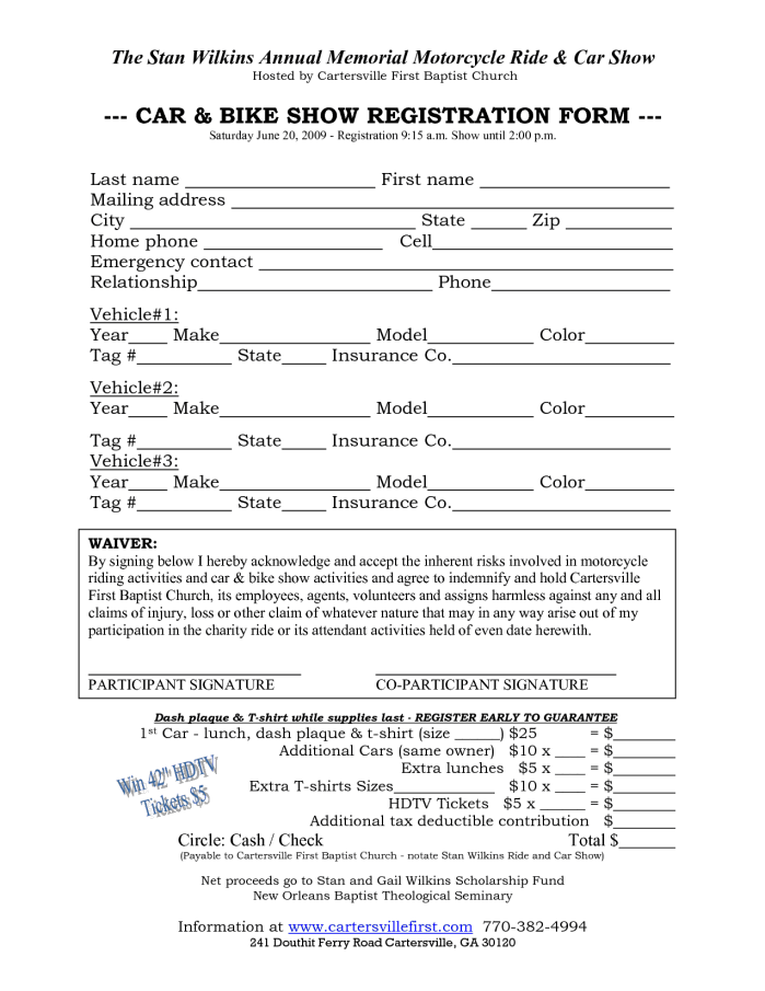 car show registration form templates word excel samples. Black Bedroom Furniture Sets. Home Design Ideas