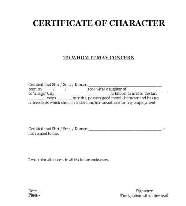 Character Certificate Templates - Word Excel Samples
