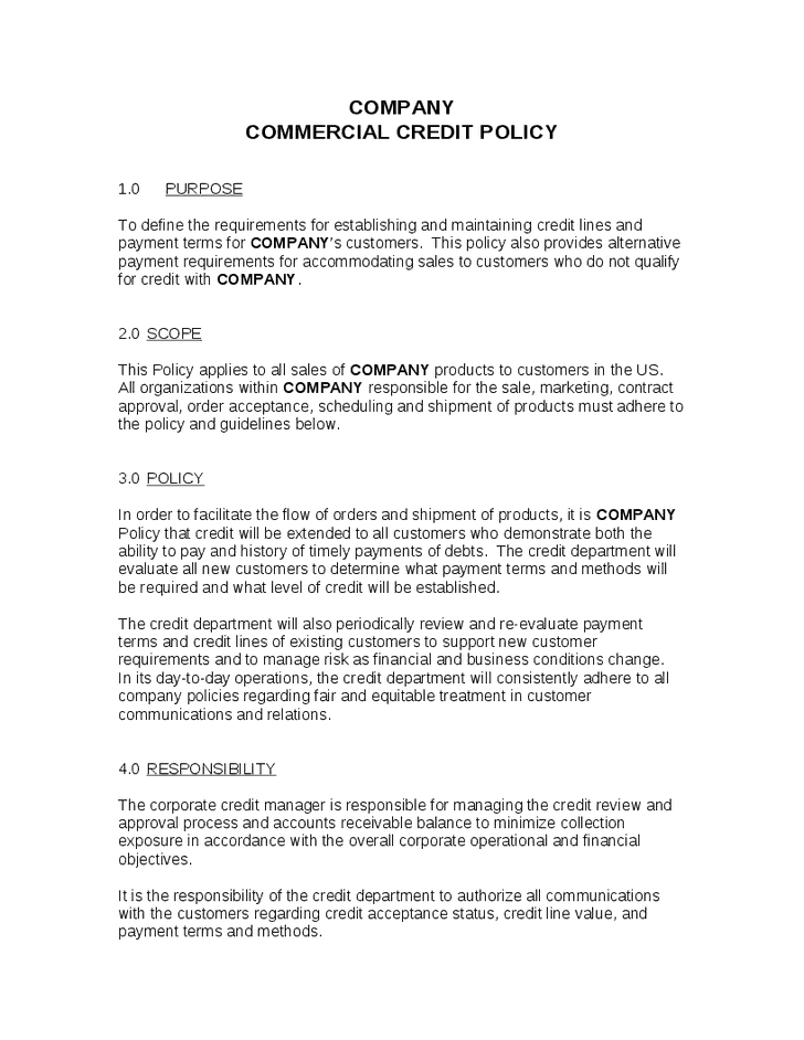credit account terms and conditions template