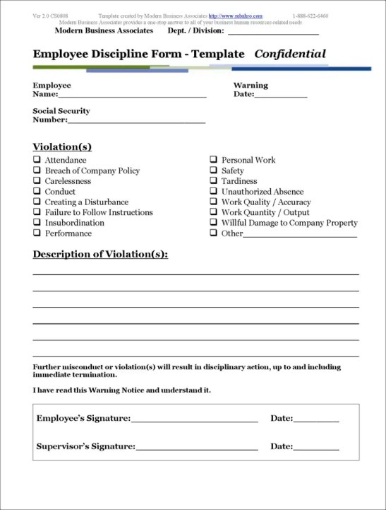 employee write up form templates