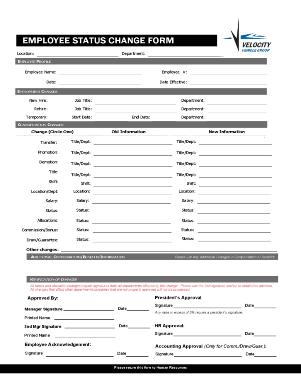 payroll change notice form template - employee status change forms word excel samples