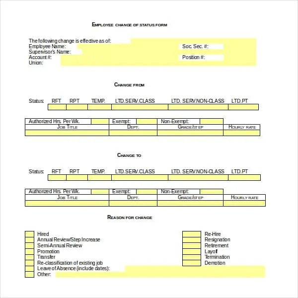 Employee status change form 40