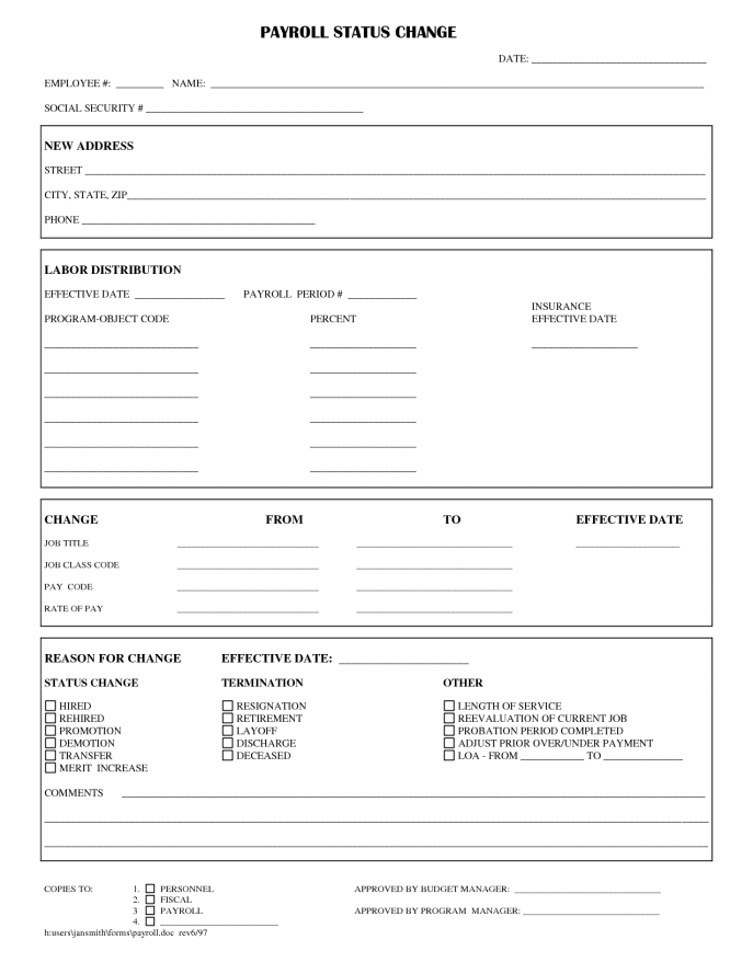 employee status change form templates