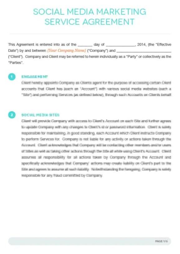 Social Media Contract Template 20