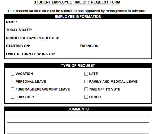 Time Off Request Forms - Word Excel Samples