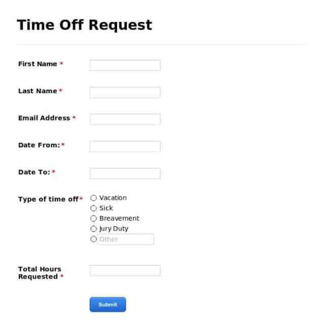 Time Off Request Form 50