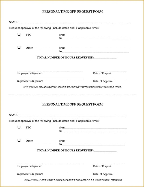 Time Off Request Form 80