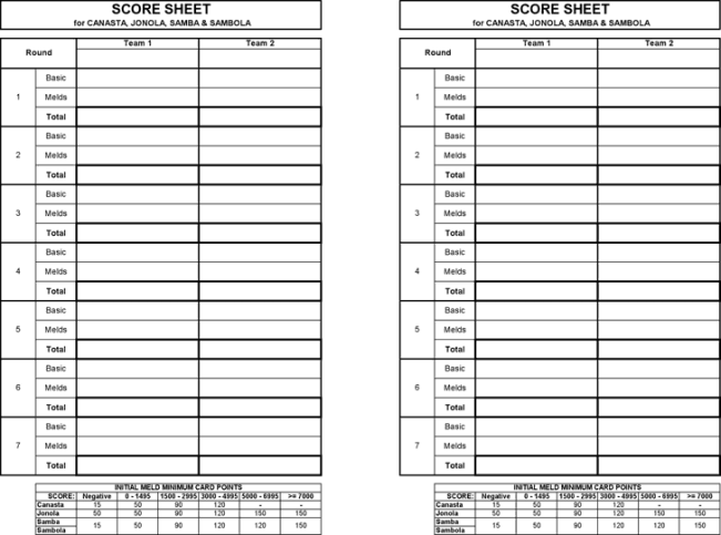 canasta score sheets word excel samples