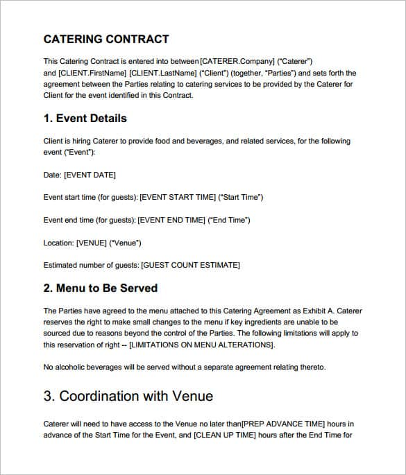 Catering Contract Templates  Word Excel Samples