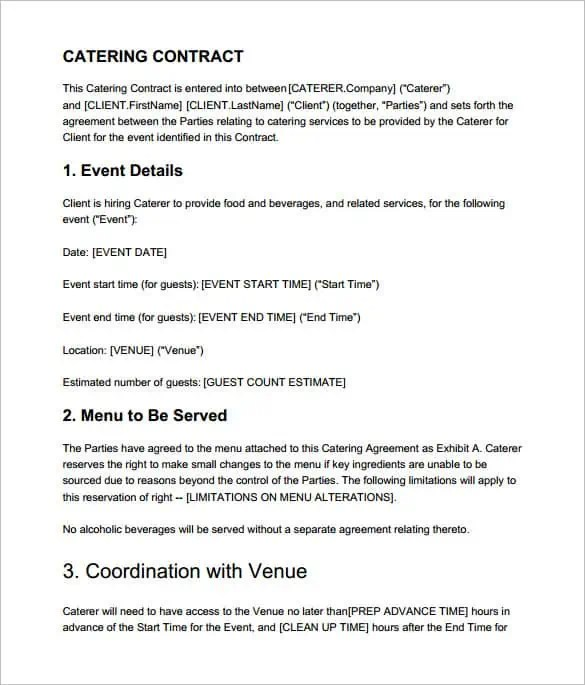Catering Contract Templates - Word Excel Samples