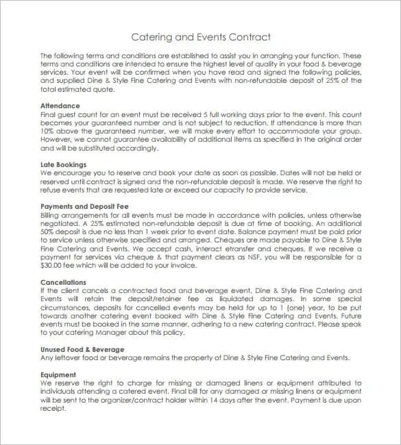 catering contract template 30