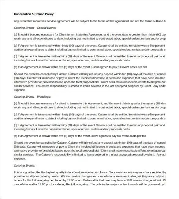 Catering Contract Template 40 ...