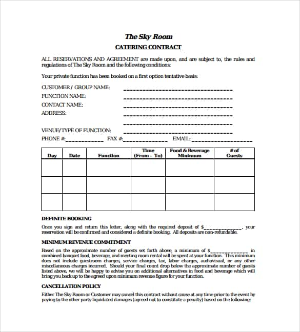 event planning contract samples