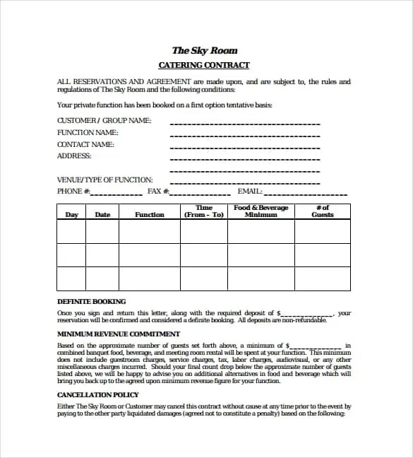 Catering Contract Template 80 ...