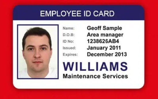 employee id cards templates