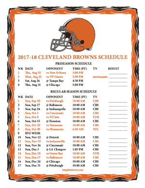 Printable 2017 2018 Cleveland Browns Schedule