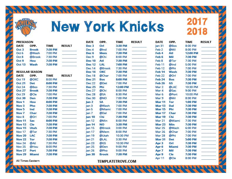 Printable 2017 2018 New York Knicks Schedule