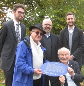 Left to right: Michael Schwartz of the Jewish Museum and Archives of British Columbia, Rabbi Philip Bregman, Rabbi Dan Moskovitz, Mike Harcourt and Chris Gorczynski. (photo by Cynthia Ramsay)