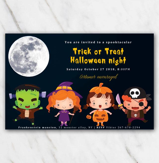 Trick Or Treat Halloween Invitation Template 100 Free