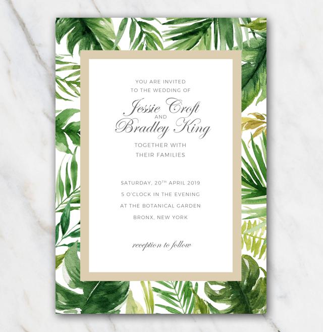 Tropical Palm Tree Leaves Wedding Invitation Template 100