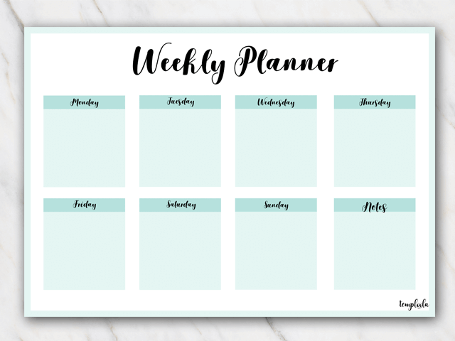 12 Free Printable Weekly Planner PDF Templates 2018