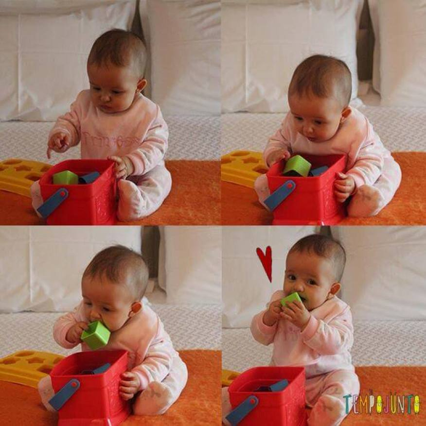 Atividades para bebes de 6-12 meses - balde com brinquedos