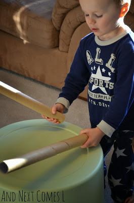 Como fazer instrumentos musicais com crianças - tambor grande