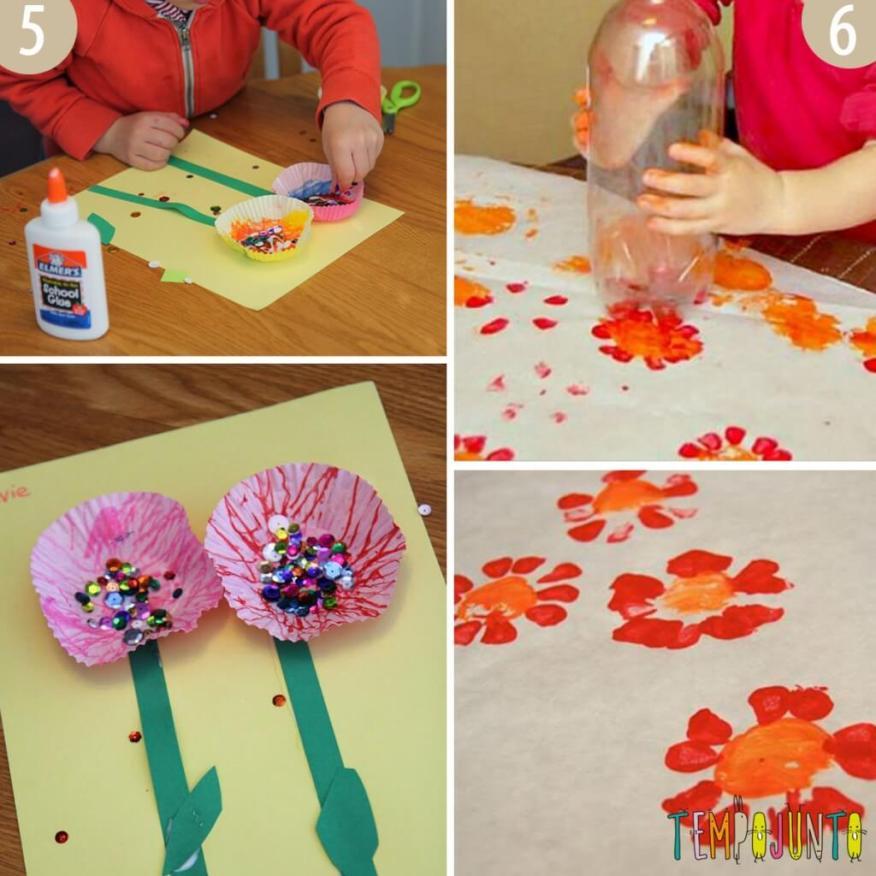 Flores com forma de brigadeiro e fundo de garrafa